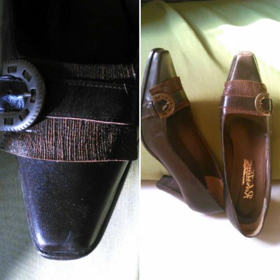 Zapatos Cuero Chocolate