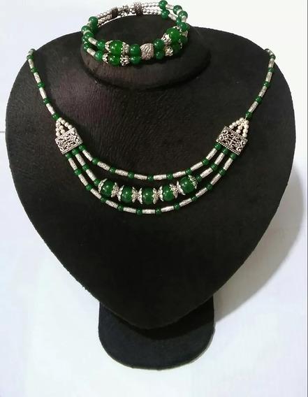 Conjunto Feminino Colar Pulseira Prata Pedras Naturais Jade