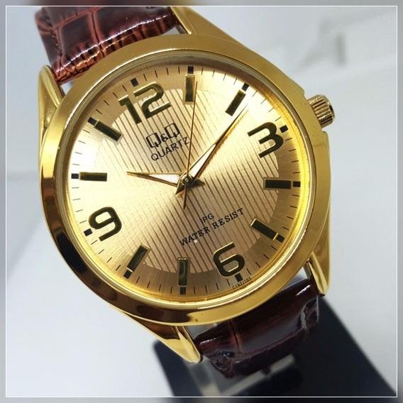 Relógio Masculino Q&q Dourado Fundo Champanhe Couro Marrom