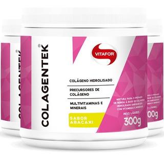 Kit 3 Colagentek Vitafor 300g Colágeno Hidrolisado - Abacaxi
