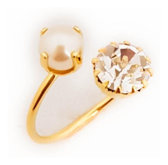 Anel Feminino Solitário Pérola Diamante Folheado Ouro. A103