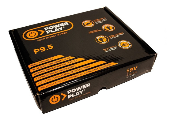 Fonte Power Play P9.5 2000ma Para 5 Pedais 9v Bivolt