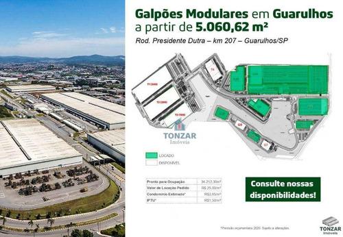 Imagem 1 de 15 de Galpão Modular Para Locação, Parque Logístico, Guarulhos. - Ga0715