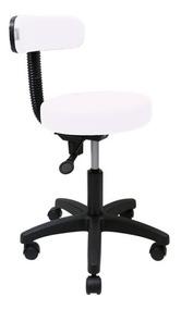 Cadeira Mocho Branc P/ Dentista Podologo Tatuador Base Preta