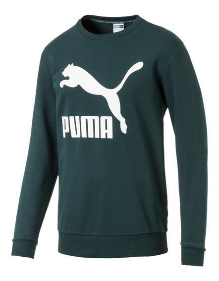 Buzo Puma Classics Logo Crew Verde De Hombre