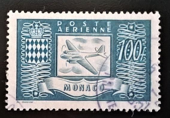 Mónaco Aviones, Sello Aéreo Sc. C12 100fr 1946 Usado L11984