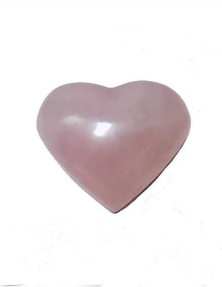 Cristal - Coração De Quartzo Rosa Lapidado Pedra Natural!