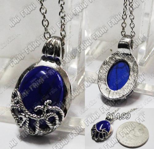 Imagen 1 de 5 de Collar The Vampire Diaries Azul Con Plata (tienda Friki)