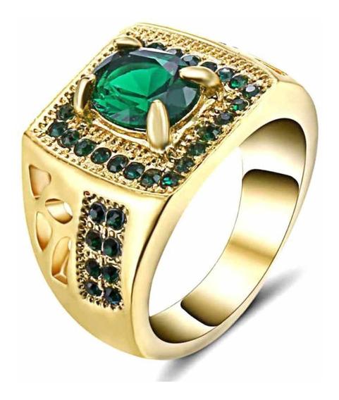 Anel Banhado Ouro Masculino Formatura Esmeralda 623 I