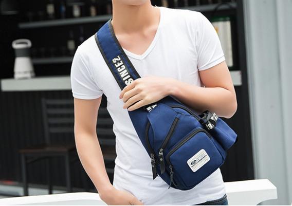 Bolsa Masculina Azul Estampada Social Moderna + Super Brinde