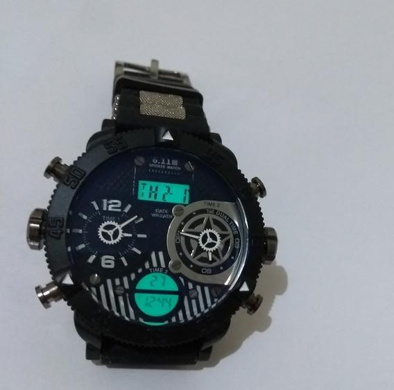 Relógio Preto Masculino 2 Centros Giratórios 6.11 + Promoção