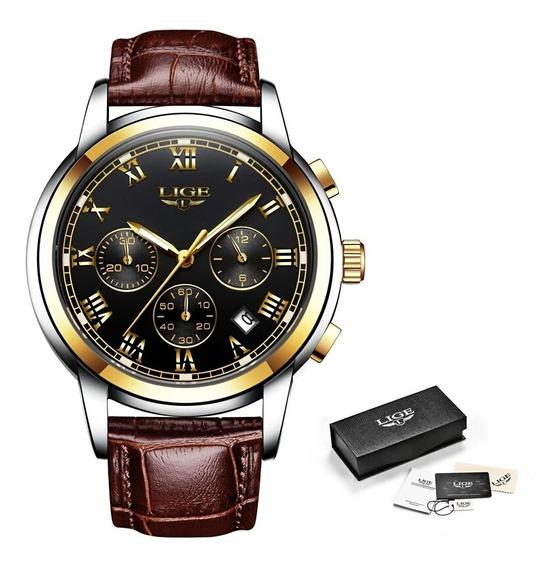 Relógio Masculino Lige Luxo P. De Couro Cronógrafo Promoção