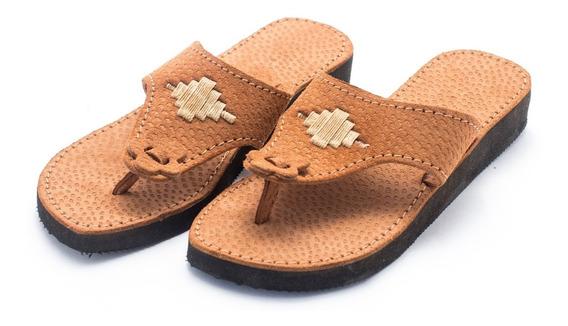 Zapatos Sandalias Chinelas Artesanales Cuero Dama Arc55