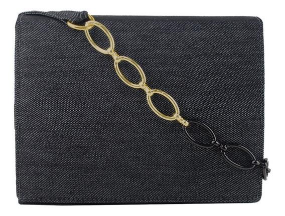 Bolsa Clutch Mão Jeans Preto Tiracolo Pequena Correntes Alça
