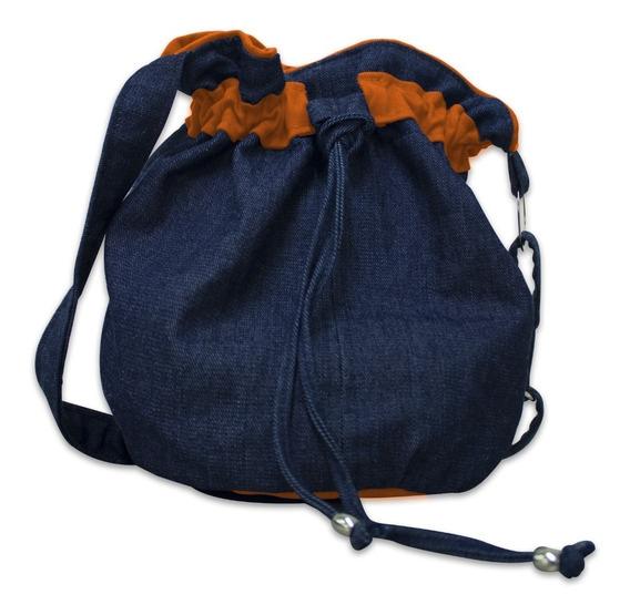 Kit Bolsa Em Jeans C/ Forro E Detalhe Colorido
