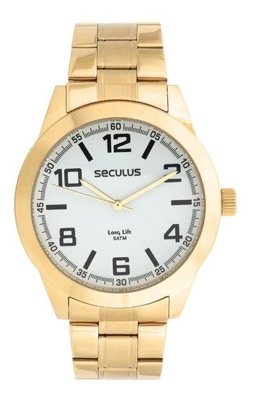 Relógio Seculus Masculino Analógico Dourado 28867gpsvda2