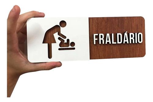 Imagem 1 de 3 de Placa De Fraldário Bebê Trocador Sinalização Restaurante Mdf