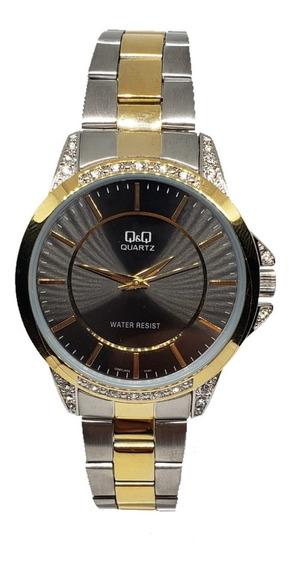 Reloj Para Caballero Citizen Qyq Original Plata Dorado 402y
