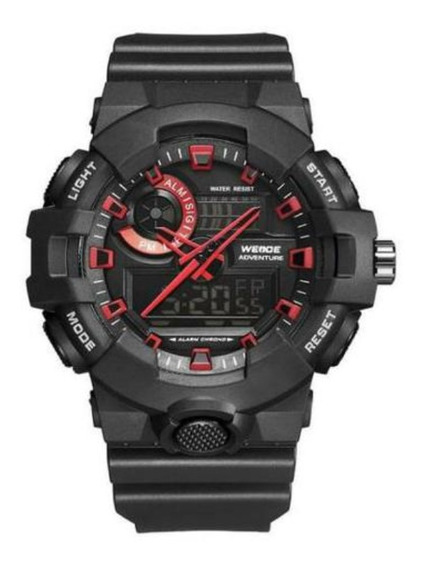 Relógio De Pulso Weide Preto Vermelho Casual Digital Oferta