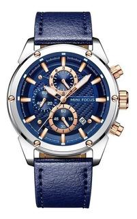 Reloj Hombr Mini Focus 0161 Pa Deportivo Cuero Elegante Caja