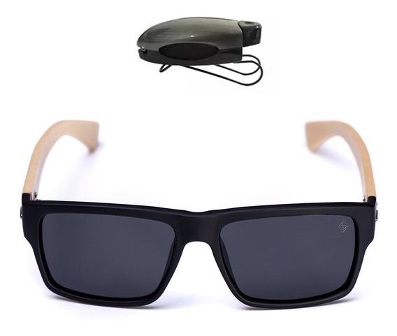 Óculos Masculino Lente Polarizada Armação Madeira C/ Brinde