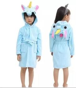 Roupão P/ Criança C/ Capuz De Unicornio Azul Banho Praia
