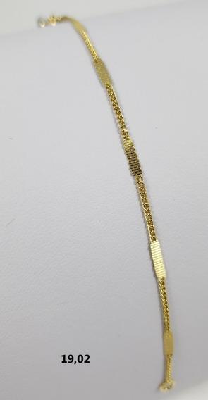 Pulseira Bruna Banhada À Ouro 18k Detalhe Chatinho 14cm