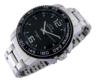 Reloj Montreal Hombre Ml888 Malla Acero Taquímetro