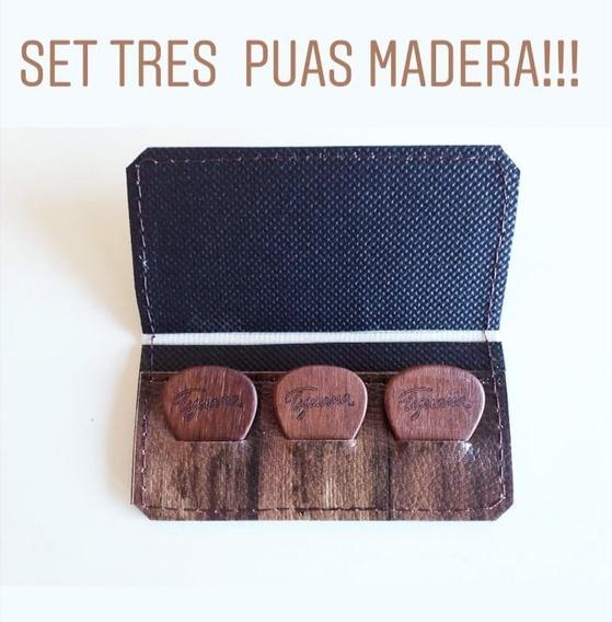Set 3 Puas De Madera Tijuana Guitarrra Estuche De Eco Cuero