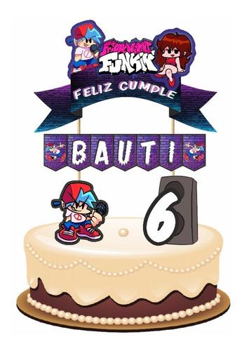 Imagen 1 de 5 de Friday Night Funkin Cake Topper Para Tortas Personalizado