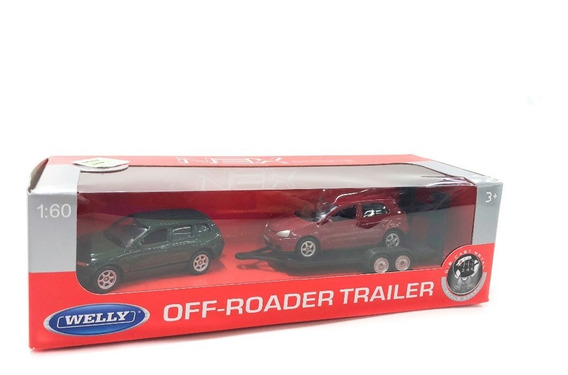 Welly Auto Vw Touareg + Trailer + Vw Golf 1:60 Lloretoys