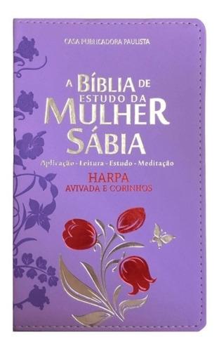 Bíblia Luxo De Estudo Da Mulher Premium Sábia Com Harpa