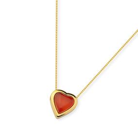 Gargantilha Com Coração Ágata Vermelha - Força E Coragem