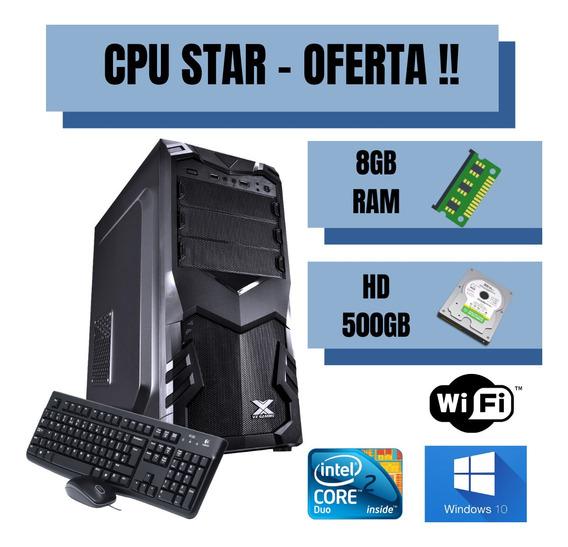Cpu Core 2 Duo 500gb De Hd 8gb Ram - Win10 Adaptador Wifi