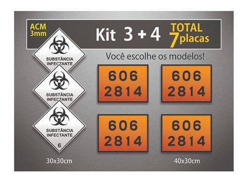 7 Placas Rótulo De Risco E Onu - Acm 3mm - Kit 7 Unid