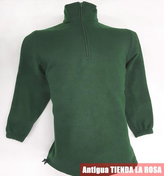 Buzo Polar 1/2 Cierre Abrigo Anti Pilling Hombre Verde Musgo