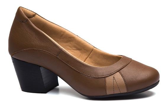 Sapato Feminino 279 Em Couro Capuccino/doce De Leite Doctor