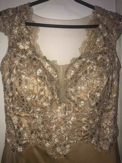 Vestido De Madrinha Dourado/ Nude Tamanho 46 Com Renda