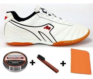 Tenis Futsal Mathaus Azzurra + Kit Cuidado Couro Natural