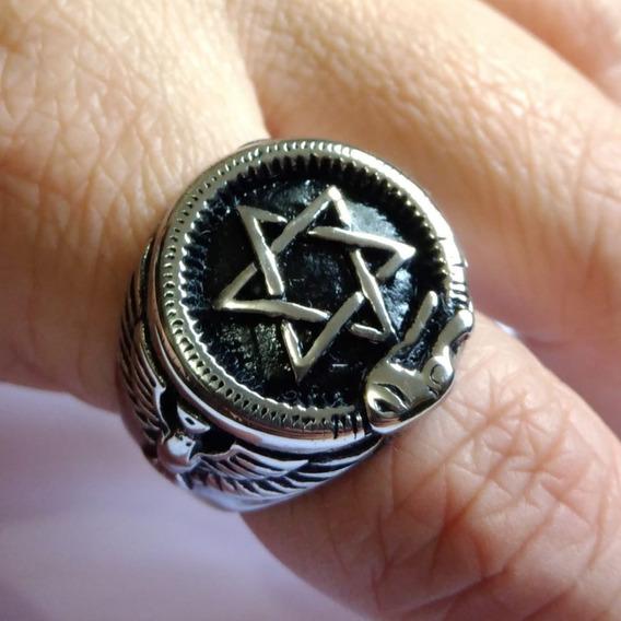 Anel Hexagrama Estrela Davi Salomão Cobra Aço