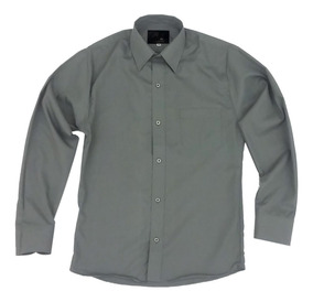 Camisa Vestir Infantil Juvenil Gris Oxford Obscuro 2 A 16