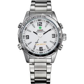 Relógio Weide Prata De Pulso Masculino Branco Aço Inox Top