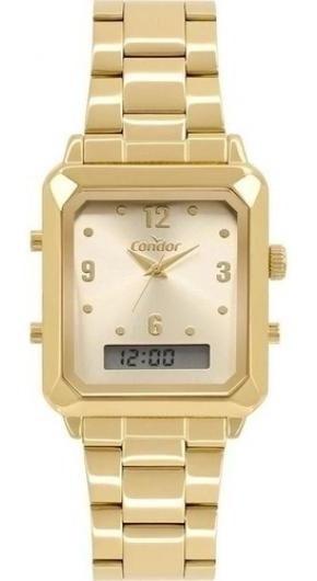 Relógio Digital E Analógico Quadrado Dourado, Condor
