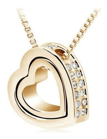 Corrente Feminina - Pingente Coração Com Strass (dourada)