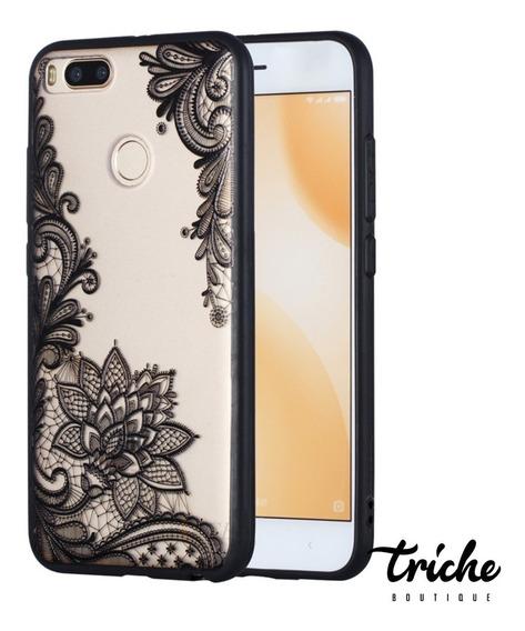 Funda Case Flor De Loto Negro Vintage Xiaomi Mi A1