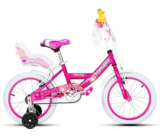 Bicicleta Nena Niña Rod 16 Con Rueditas Top Mega Princess