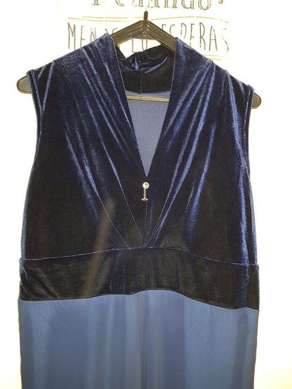 Vestido Fiesta Talle 6 Forrado En Gasa Terciopelo Azul Noche
