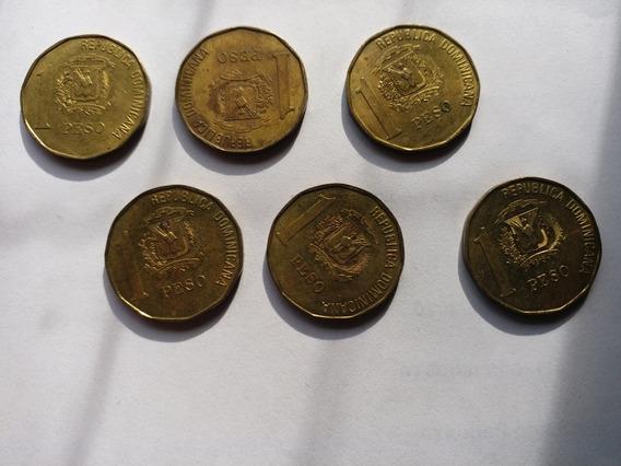 Monedas 1 Peso República Dominicana Año1991 (lote De 6)