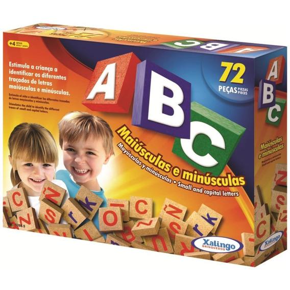 Brinquedo Educativo De Madeira Abc Com 72 Peças Xalingo