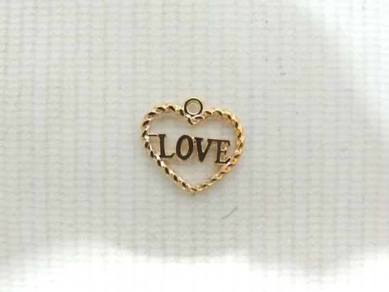 10 Peças Pingente Coração Love Bijuteria Atacado